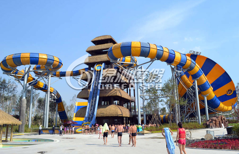 Children / Adults Thrilling Huge tornado water slide for commercial playground equipment